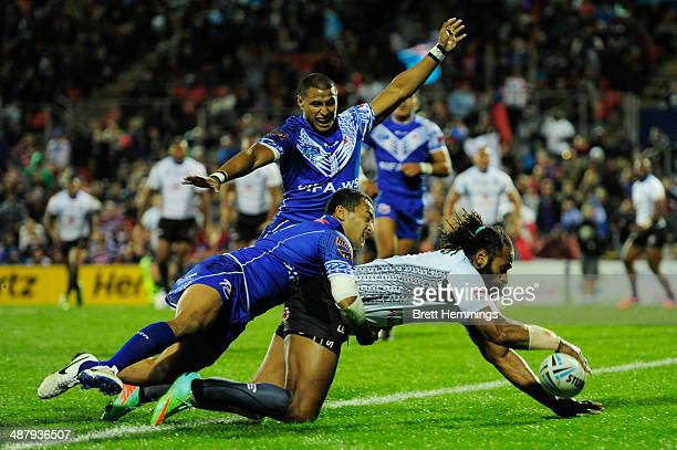 Lote Tuqiri of Fiji dives over the try line to score during the International Test Match between Fiji and Samoa at Sportingbet Stadium on May 3 2014...