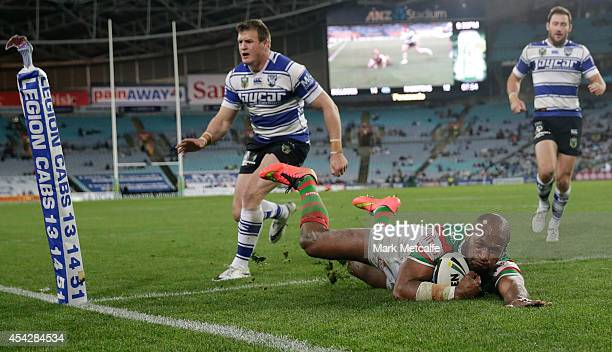 Lote Tuqiri of the Rabbitohs scores a try during the round 25 NRL match between the Canterbury Bulldogs and the South Sydney Rabbitohs at ANZ Stadium...