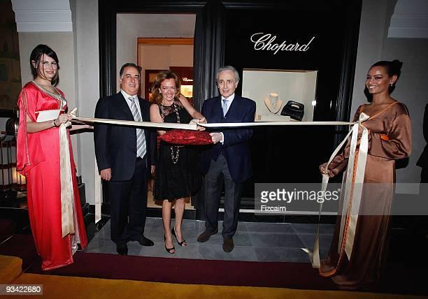 Lotfi Sefrioui Caroline Scheufele and Opera Singer Jose Carreras attend Chopard Flagship Boutique Launch at Hotel La Mamounia on November 25 2009 in...