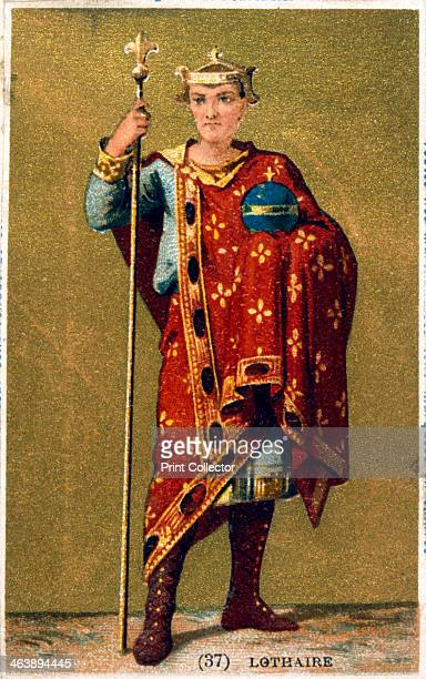 Lothaire King of France from 954 19th century Lothaire shown wearing a crown and carrying an orb and sceptre