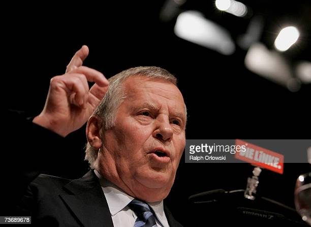 Lothar Bisky party leader of the Left Party addresses their party meeting on March 24 2007 in Dortmund Germany The two German leftwing parties WASG...