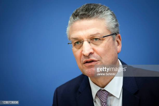 Lothar H. Wieler, President of the Robert Koch Institute , is pictured during a press conference on the current corona situation in lockdown in...