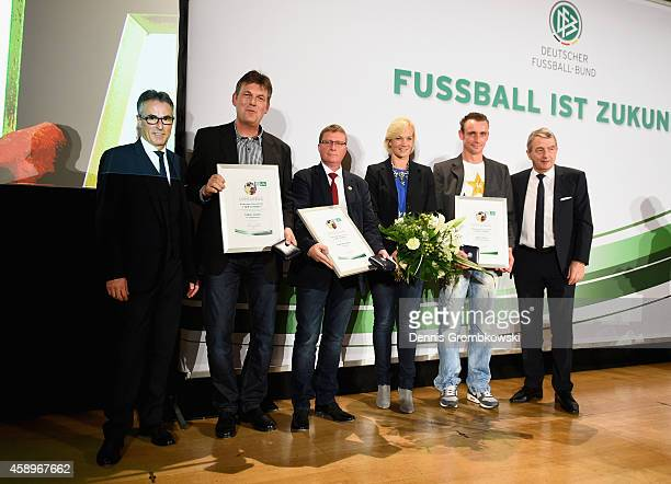 Lothar Jessen FrankPeter Meier and Marcel Paris pose during the Club 100/Fair ist mehr Award Ceremony at Rathaus Nuernberg on November 14 2014 in...