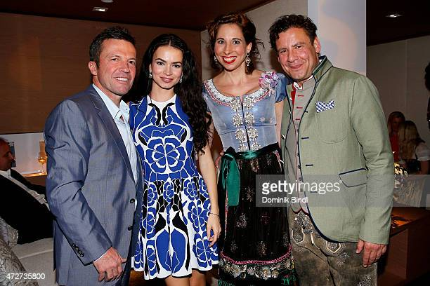 Lothar Matthaeus Anastasia Matthaeus Lola Paltinger and Andreas Meister during the Kempinski Hotel Berchtesgaden opening party on May 8 2015 in...