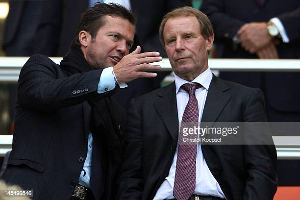 Lothar Matthaeus and Berti Vogts talk on the tribune during the International friendly match between Germany and Israel at Zentralstadion on May 31...