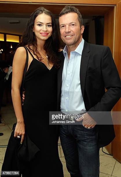 Lothar Matthaeus and his girl friend Anastasia Klimko attend the 2nd evening of the FIFA World Champions of 1990 meeting at Hotel Seeleiten on July 8...