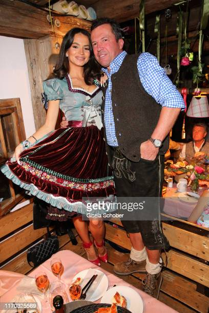 Lothar Matthaeus and his wife Anastasia Matthaeus during the Almauftrieb as part of the Oktoberfest 2019 at Kaefer Tent at Theresienwiese on...