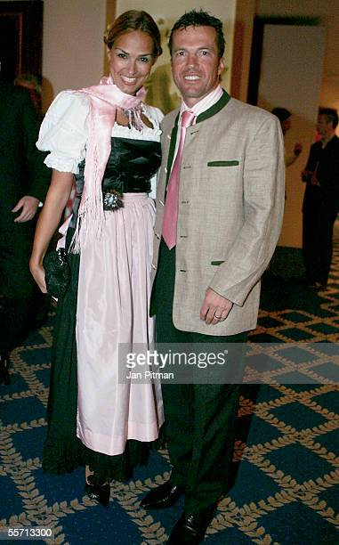 Lothar Matthaeus and his wife Marijana smile at the Arabella Sheraton Hotel on September 17 2005 in Munich Germany German Bundesliga club Bayern...