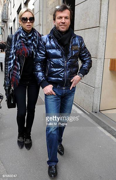 Lothar Matthaeus and Kristina Liliana are seen on February 25 2010 in Milan Italy