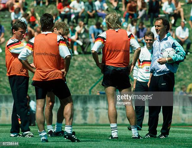 Lothar Matthaeus and Pierre Litbarski and Rudi Voeller and Juergen Klinsmann and Coach Franz Beckenbauer of Germany during the Training Camp for the...