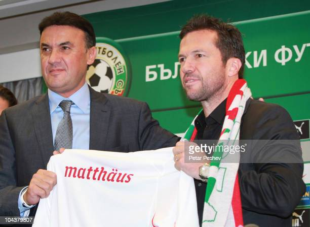 Lothar Matthaeus and President of the Bulgarian Football Union Borislav Mikhailov attend a press conference to present him as new head coach of...