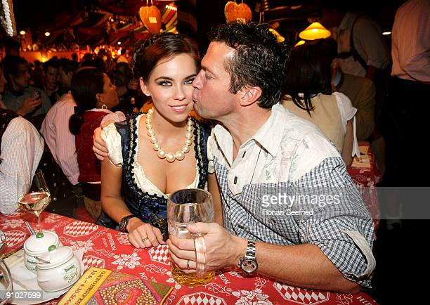 Lothar Matthaeus and wife Kristina Liliana attend the Davidoff wiesn 2009 at Hippodrom at the Theresienwiese on September 22, 2009 in Munich,...