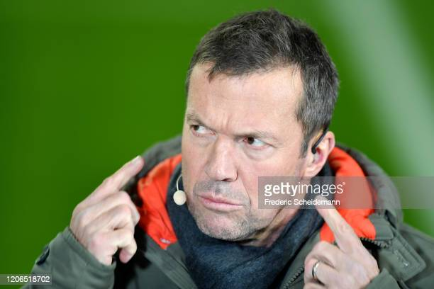 Lothar Matthaeus looks on prior toduring the Bundesliga match between Fortuna Duesseldorf and Borussia Moenchengladbach at Merkur Spiel-Arena on...