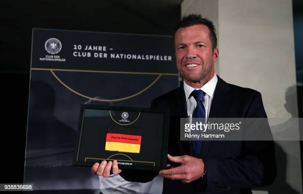 Lothar Matthaeus newly elected president of the Club of Former National Players poses prior to the friendly match between Germany and Brazil at...