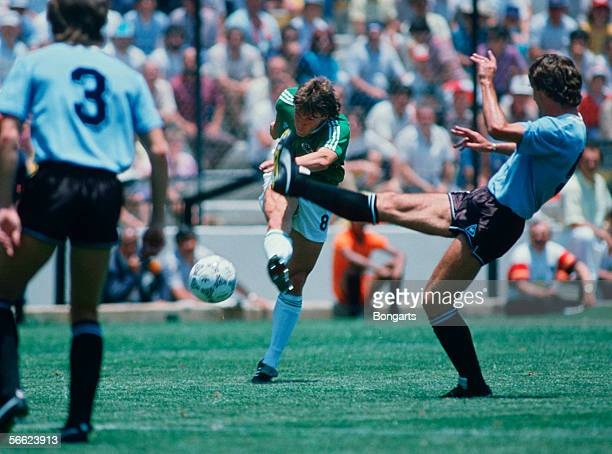 Lothar Matthaeus of Germany in action during the World Cup match between Uruguay and Germany on June 04 1986 in Queretaro Mexico