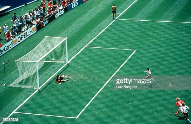 Lothar Matthaeus of germany scores the first goal during the World Cup quarter final match between Bulgaria and Germany on July 10 1994 in New York...