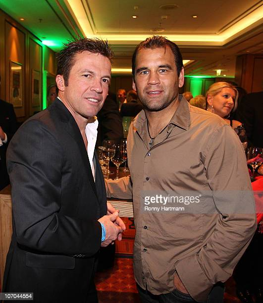 Lothar Matthaeus of the World Champion 1990 and Ulf Kirsten of the DFV Legend pose during the Players Night at the Westin Hotel on November 20 2010...