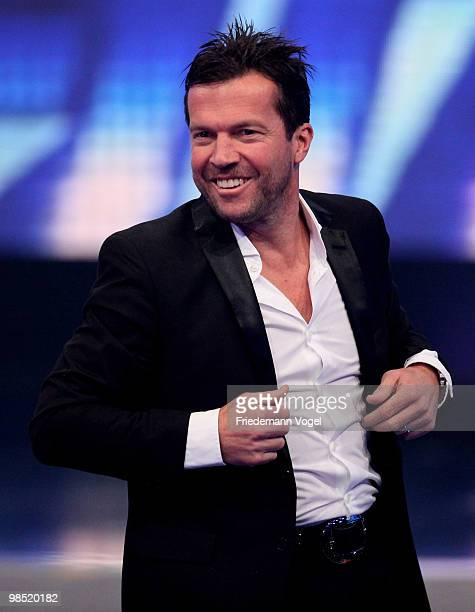 Lothar Matthaeus poses during the contest 'DSDS Deutschland Sucht Den Superstar' final show on April 17 2010 in Cologne Germany