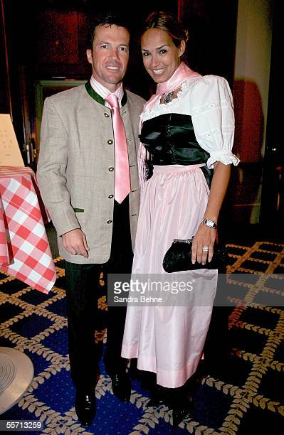 Lothar Matthaeus poses for a photo with his wife Marijana at the Arabella Sheraton Hotel on September 17 2005 in Munich Germany German Bundesliga...