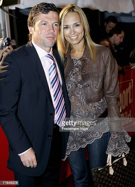 Lothar Matthaeus poses for a photo with his wife Marijana during the ceremony of the Sport Bild Awards 2006 on August 14 2006 in Hamburg Germany