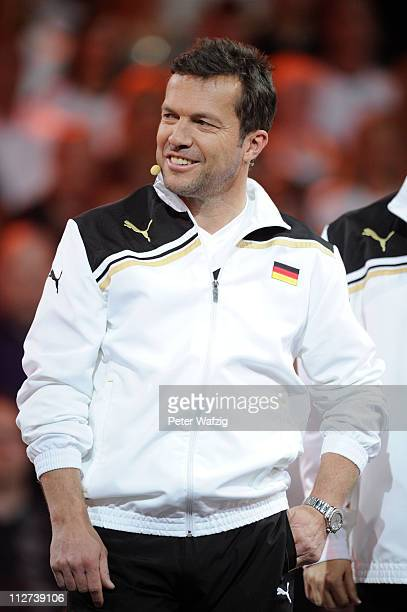 Lothar Matthaeus smiles during the 'Deutschland Gegen Italien' TV Show on April 20 2011 in Duesseldorf Germany