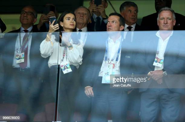 Lothar Matthaus and his wife Anastasia Klimko attend the 2018 FIFA World Cup Russia Semi Final match between England and Croatia at Luzhniki Stadium...