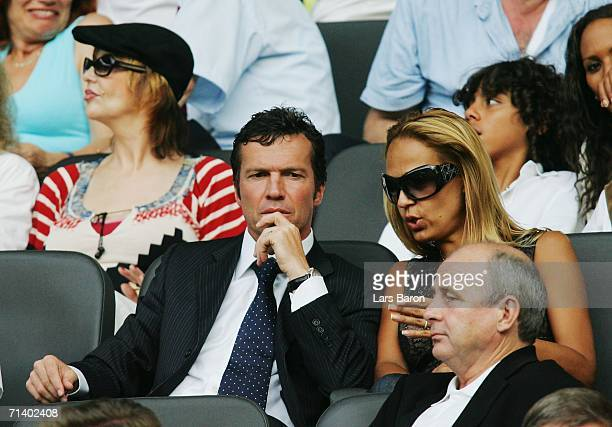 Lothar Matthaus and his wife Marijana look on prior to the FIFA World Cup Germany 2006 Final match between Italy and France at the Olympic Stadium on...