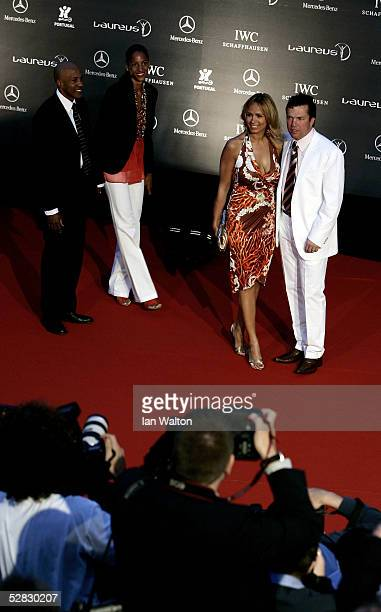 Lothar Matthaus and wife Marijana arrive at the Laureus/Vogue welcome party on May 15 2005 at Farol Design Hotel Estoril Portugal