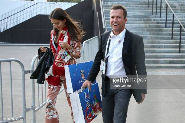 Lothar Matthaus ans his wife Anastasia Klimko following the 2018 FIFA World Cup Russia group A match between Russia and Saudi Arabia at Luzhniki...