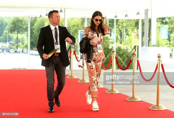 Lothar Matthaus arrives at the stadium with wife Anastasia Klimko prior to during the 2018 FIFA World Cup Russia group A match between Russia and...