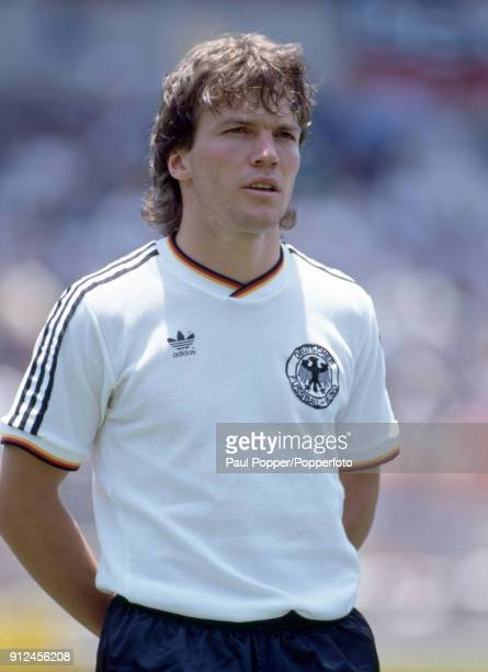 Lothar Matthaus lines up for West Germany before the FIFA World Cup match between Scotland and West Germany at the Estadio Corregidora in Queretaro...