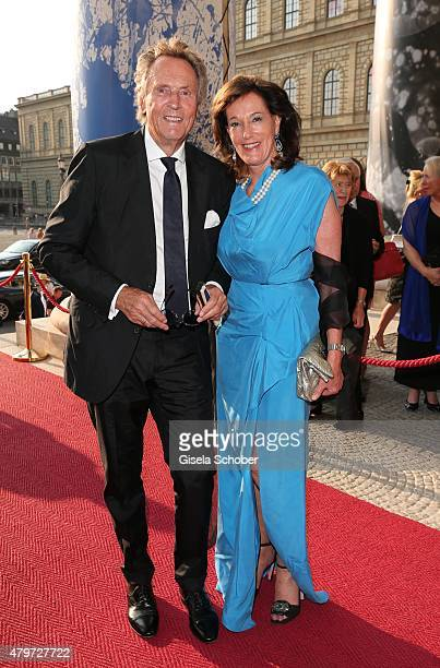 Lothar Strobach and his wife Constanze Neuhann-Lorenz during the premiere of the opera 'Arabella' on July 6, 2015 in Munich, Germany.