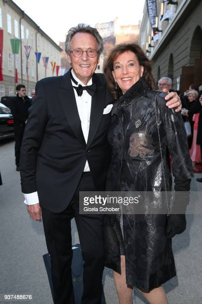 Lothar Strobach and his wife Dr Constanze NeuhannLorenz during the Easter Opera Festival opening premiere of 'Tosca' at Grosses Festspielhaus on...