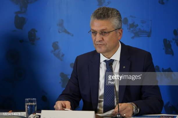 Lothar Wieler head of the Robert Koch Institute Germany's leading institute on infectious diseases speaks to the media on October 22 2020 in Berlin...