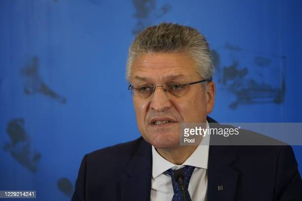Lothar Wieler, head of the Robert Koch Institute, Germany's leading institute on infectious diseases, speaks to the media on October 22, 2020 in...