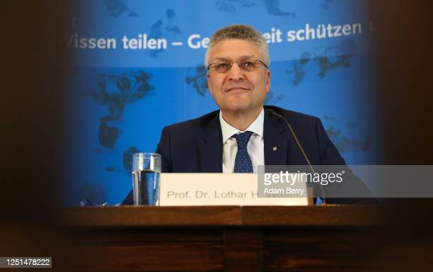 Lothar Wieler, president of the Robert Koch Institute , a public research body responsible for disease control, arrives to speak to the media to give...