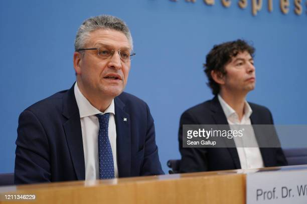 Lothar Wieler President of the Robert Koch Institute and Christian Drosten Director of the Institute for Virology at Charite Berlin hospital speak to...