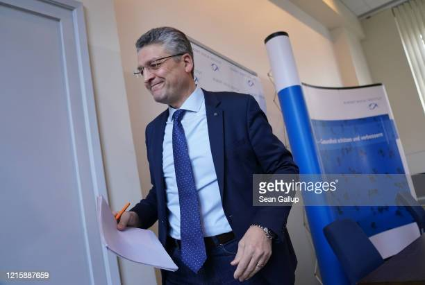 Lothar Wieler President of the Robert Koch Institute departs after speaking to the media to give an update on the global coronavirus pandemic on...