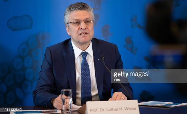 Lothar Wieler President of the Robert Koch Institute Germany's agency for the control of infectious diseases speaks to the media on the latest...