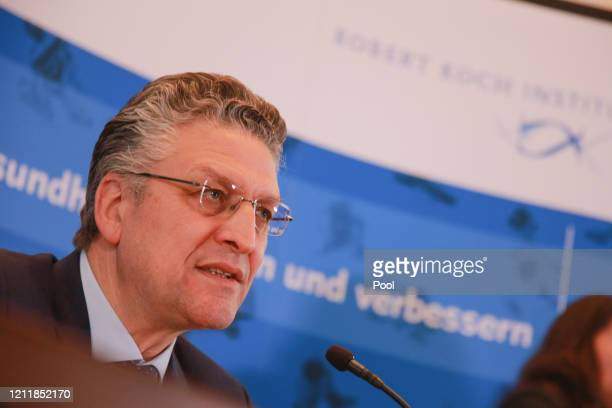 Lothar Wieler, President of the Robert Koch Institute, Germany's agency for the control of infectious diseases, speaks to the media on the latest...
