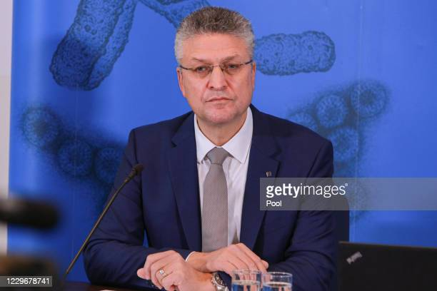 Lothar Wieler, president of the Robert Koch Institute, Germany's agency for infectious diseases, speaks to the media during the second wave of the...