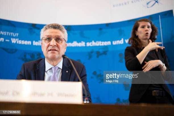Lothar Wieler President of the Robert Koch Institute Germany's main institute for disease control speaks to the media during a daily update on the...
