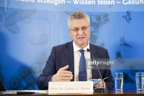 Lothar Wieler, president of the Robert Koch Institute, Germany's main institution for fighting infectious diseases, speaks to the media during a...