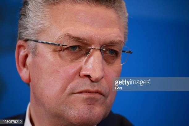 Lothar Wieler, President of the Robert Koch Institute, Germany's main agency for fighting infectious diseases, speaks at a press briefing during the...