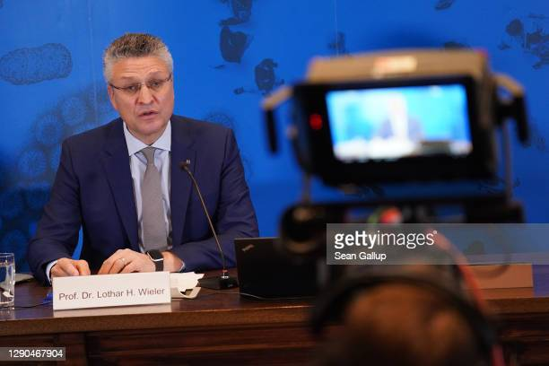 Lothar Wieler, President of the Robert Koch Institute, Germany's main agency for fighting infectious diseases, speaks to the media during the second...