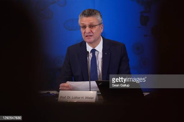 Lothar Wieler, President of the Robert Koch Institute, Germany's main institute for the prevention of infectious diseases, speaks to the media...