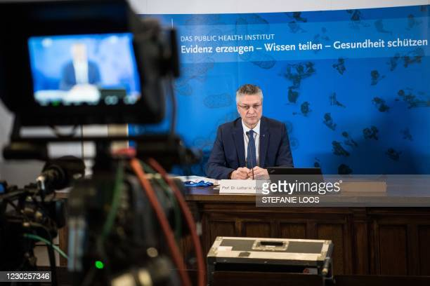 Lothar Wieler, the head of Germany's disease control agency Robert-Koch-Institute , addresses a news conference to comment on the current situation...