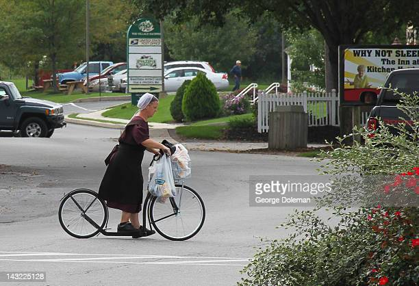Lots of Amish going about their everyday business in BirdinHand This lady carrying bags on her cycle stood out