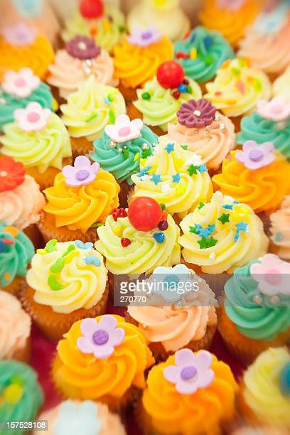 lots of colorful cupcakes with shallow dof and lensbaby