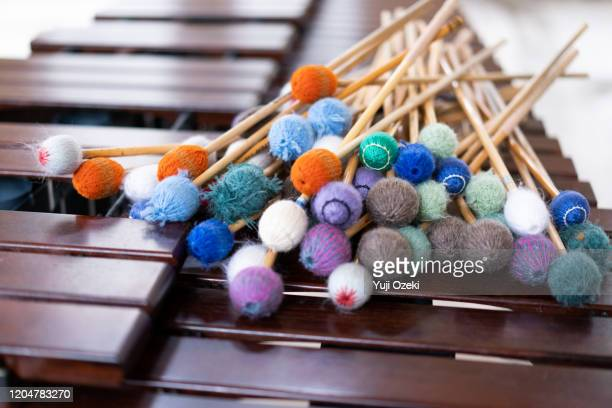 lots of colorful mallets are on the marimba - percussion mallet stock pictures, royalty-free photos & images
